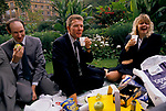 City of London office workers lunch time picnic 1990s London Uk . They are a group of accountants, an office lunch hour party amongst friend s in Finsbury Circus Gardens 1992. UK