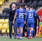 16.08.2020 Livingston v Rangers: Livingston manager Gary Holt commiserates with Rangers' Kemar Roofe and Brandon Barker at full time