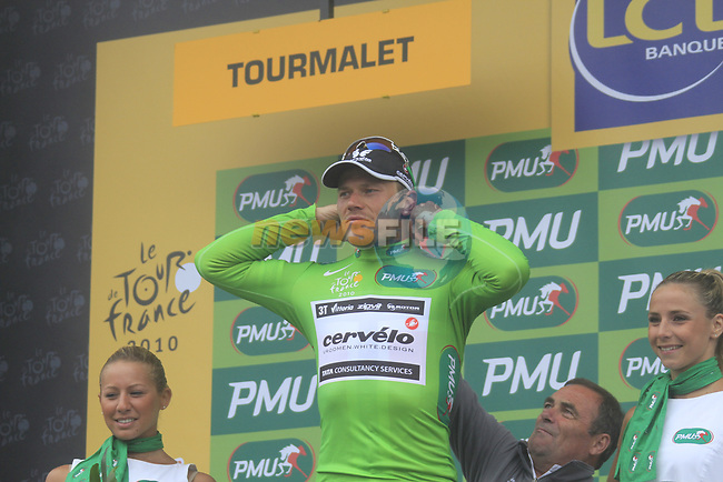 Thor Hushovd (NOR) Cervelo Test team retains the points Green Jersey at the end of Stage 17 of the 2010 Tour de France running 174km from Pau to Col du Tourmalet, France. 22nd July 2010.<br /> (Photo by Eoin Clarke/NEWSFILE).<br /> All photos usage must carry mandatory copyright credit (© NEWSFILE   Eoin Clarke)