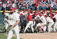 Arkansas players cheer after a win, Saturday, April 3, 2021 during the tenth inning of a baseball game at Baum-Walker Stadium in Fayetteville. Check out nwaonline.com/210404Daily/ for today's photo gallery. <br /> (NWA Democrat-Gazette/Charlie Kaijo)