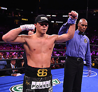 NEWARK, NJ - JULY 31: Joey Spencer (black trunks) after defeating James Martin (green/blue trunks) on the Fox Sports PBC Fight Night at Prudential Center on July 31, 2021 in Newark, New Jersey. (Photo by Frank Micelotta/Fox Sports/PictureGroup)