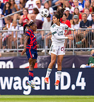 EAST HARTFORD, CT - JULY 5: Crystal Dunn #2 of the USWNT goes up for a header during a game between Mexico and USWNT at Rentschler Field on July 5, 2021 in East Hartford, Connecticut.