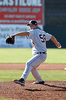Connecticut Tigers starting pitcher Clemente Mendoza (59) during a double header vs. the Batavia Muckdogs at Dwyer Stadium in Batavia, New York July 10, 2010.  Connecticut dropped the first game 3-5 then defeated Batavia 8-1 in the night cap.  Photo By Mike Janes/Four Seam Images