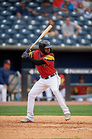 Toledo Mud Hens Ronny Rodriguez (6) bats during an International League game against the Durham Bulls on July 16, 2019 at Fifth Third Field in Toledo, Ohio.  Durham defeated Toledo 7-1.  (Mike Janes/Four Seam Images)