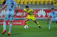 Phoenix's Liberato Cacace in action during the A-League football match between Wellington Phoenix and Brisbane Roar at Westpac Stadium in Wellington, New Zealand on Saturday, 23 November 2019. Photo: Dave Lintott / lintottphoto.co.nz