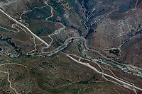 aerial photograph of water feeder pipes for the Devils Canyon Afterbay hydroelectric power plant, San Bernadino County