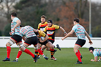 Cam Mitchell of Richmond Rugby is tackled during the English National League match between Richmond and Blackheath  at Richmond Athletic Ground, Richmond, United Kingdom on 4 January 2020. Photo by Carlton Myrie.