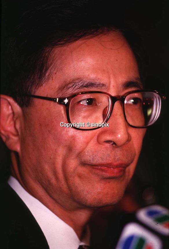 HONG KONG: 080196: MARTIN LEE: <br /> <br /> Martin Lee at a press conference prior to meeting Tung Chee Hwa 08 Jan.