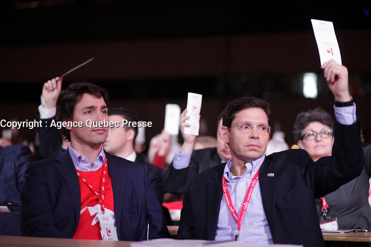 April 23 , 2014 -  Justin Trudeau,Leader,  Liberal Party of Canada attend the Constitutional Amendment Plenary at the  2014 Biennial Convention in Montreal. <br /> <br /> Justin Trudeau, chef du Parti liberal du Canada durant la Seance pleniere sur les amendements constitutionnels<br /> lors du  Congres biennal liberal a Montreal,  dimanche le 23 fevrier 2014.<br /> <br /> Photo : (c) Pierre Roussel- Images Distribution