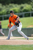 Frederick Keys starting pitcher Jarett Miller (46) in action against the Lynchburg Hillcats at Calvin Falwell Field at Lynchburg City Stadium on May 14, 2015 in Lynchburg, Virginia.  The Hillcats defeated the Keys 6-3.  (Brian Westerholt/Four Seam Images)