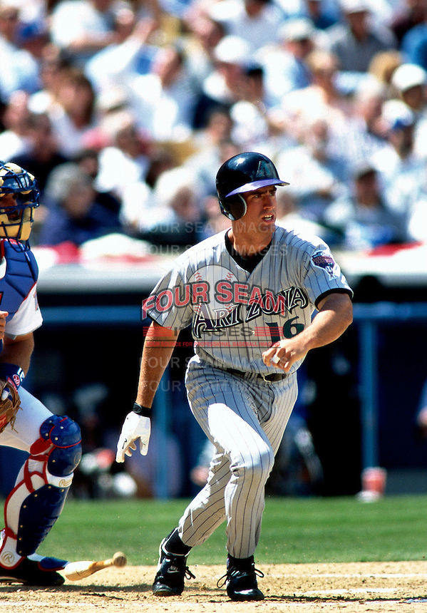 Travis Lee of the Arizona Diamondbacks participates in a Major League Baseball game at Dodger Stadium during the 1998 season in Los Angeles, California. (Larry Goren/Four Seam Images)
