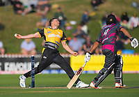 Wellington's Logan Van Beek bowls during the Dream11 Super Smash cricket match between the Wellington Firebirds and Northern Knights at Basin Reserve in Wellington, New Zealand on Friday, 3 January 2020. Photo: Dave Lintott / lintottphoto.co.nz