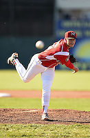 Batavia Muckdogs pitcher Connor Overton (56) delivers a pitch during a game against the State College Spikes on June 22, 2014 at Dwyer Stadium in Batavia, New York.  State College defeated Batavia 10-3.  (Mike Janes/Four Seam Images)