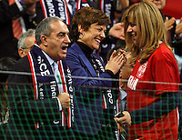 French minister of sport Chantal Jouanno  (center) , serbian minister of sport Snezana Samardzic Markovic (R) and France tennis federation president  Jean Gaschassan (L) during Davis Cup finals, Serbia vs France in Belgrade Arena in Belgrade, Serbia, Sunday, 5. December 2010. (credit & photo: Pedja Milosavljevic/SIPA PRESS)