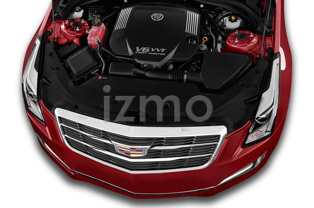 Car Stock 2015 Cadillac ATS 2.5L Standard RWD 4 Door Sedan Engine high angle detail view
