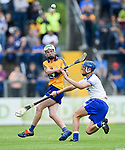 Conor Carrig of Clare  in action against Paddy Leevy of Waterford during their Munster  championship round robin game at Cusack Park Photograph by John Kelly.
