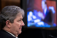 United States Senator John Neely Kennedy (Republican of Louisiana) listens as US Senator Richard Blumenthal (Democrat of Connecticut) delivers remarks during the confirmation hearing for Supreme Court nominee Judge Amy Coney Barrett before the Senate Judiciary Committee on Capitol Hill in Washington, DC, USA, 15 October 2020. Barrett was nominated by President Donald Trump to fill the vacancy left by Justice Ruth Bader Ginsburg who passed away in September.<br /> Credit: Shawn Thew / Pool via CNP /MediaPunch