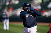 Atlanta Braves Pablo Sandoval (48) bats during a Major League Spring Training game against the Boston Red Sox on March 7, 2021 at CoolToday Park in North Port, Florida.  (Mike Janes/Four Seam Images)