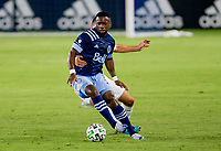 CARSON, CA - OCTOBER 18: Cristian Dajome #11 of the Vancouver Whitecaps moves with the ball during a game between Vancouver Whitecaps and Los Angeles Galaxy at Dignity Heath Sports Park on October 18, 2020 in Carson, California.