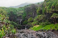 Ohe'o Gulch at Kipahulu in HALEAKALA NATIONAL PARK on Maui in Hawaii USA