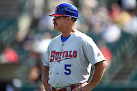 Buffalo Bisons manager Gary Allenson (5) during the first game of a doubleheader against the Rochester Red Wings on July 6, 2014 at Frontier Field in Rochester, New  York.  Rochester defeated Buffalo 6-1.  (Mike Janes/Four Seam Images)