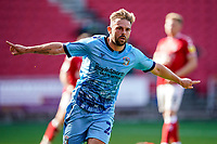 12th September 2020; Ashton Gate Stadium, Bristol, England; English Football League Championship Football, Bristol City versus Coventry City; Matthew Godden of Coventry City celebrates scoring an equalising goal in the 33rd minute for 1-1