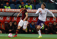 Calcio, Serie A: Roma vs Fiorentina. Roma, stadio Olimpico, 4 marzo 2016.<br /> Roma's Alessandro Florenzi, left, is chased by Fiorentina's Marcos Alonso during the Italian Serie A football match between Roma and Fiorentina at Rome's Olympic stadium, 4 March 2016.<br /> UPDATE IMAGES PRESS/Riccardo De Luca