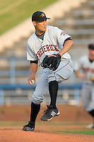 Eddie Gamboa #47 of the Frederick Keys in action versus the Winston-Salem Dash at Wake Forest Baseball Stadium August 9, 2009 in Winston-Salem, North Carolina. (Photo by Brian Westerholt / Four Seam Images)