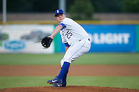 Burlington Royals relief pitcher Justin Camp (25) in action against the Bluefield Blue Jays at Burlington Athletic Stadium on June 28, 2016 in Burlington, North Carolina.  The Royals defeated the Blue Jays 4-0.  (Brian Westerholt/Four Seam Images)