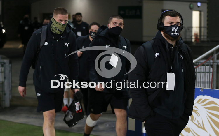 26 February 2021; Osprey players arriving for the Guinness PRO14 match between Ulster and Ospreys at Kingspan Stadium in Belfast. Photo by John Dickson/Dicksondigital