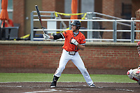Connor Denning (10) of the Campbell Camels at bat against the Dayton Flyers at Jim Perry Stadium on February 28, 2021 in Buies Creek, North Carolina. The Camels defeated the Flyers 11-2. (Brian Westerholt/Four Seam Images)