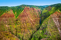 """Mohihi Falls, 360 feet or 110 meters high in total, Waimea Canyon, the """"Grand Canyon of the Pacific Ocean"""", approximately one mile wide and ten miles long, more than 3,500 feet deep, State Park, Kauai, Hawaii"""