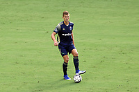 CARY, NC - AUGUST 01: Sam Brotherton #5 plays the ball during a game between Birmingham Legion FC and North Carolina FC at Sahlen's Stadium at WakeMed Soccer Park on August 01, 2020 in Cary, North Carolina.