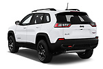 Car pictures of rear three quarter view of a 2019 Jeep Cherokee Trailhawk 5 Door SUV angular rear