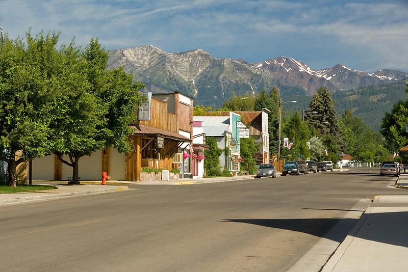 Main street with Wallow Mountains. Halfway, Oregon