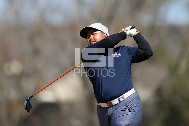 WALLACE, NC - MARCH 09: Phu Khine of UNC Wilmington tees off on the 15th hole of the River Course at River Landing Country Club on March 09, 2020 in Wallace, North Carolina.