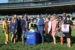 """October 05, 2019 : #4 Uni (GB) and jockey Joel Rosario win the 22nd running of The First Lady Grade 1 $400,000 """"Win and You're In Breeders' Cup Filly & Mare Turf Divison""""  for owner Robert LaPenta, Head of Plains Partners, Bethlehem Stables and trainer Chad Brown at Keeneland Racecourse in Lexington, KY on October 04, 2019.  Candice Chavez/ESW/CSM"""