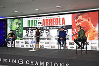 LOS ANGELES, CA - APRIL 28: (L-R) Andy Ruiz Jr., Heidi Androl, Chris Arreola, and Joe Goossen attend the press conference for the Andy Ruiz Jr. vs Chris Arreola Fox Sports PBC Pay-Per-View in Los Angeles, California on April 28, 2021. The PPV fight is on May 1, 2021 at Dignity Health Sports Park in Carson, CA. (Photo by Frank Micelotta/Fox Sports/PictureGroup)