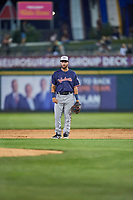 Tyler Depreta-Johnson (22) of the Nashville Sounds on defense against the Reno Aces at Greater Nevada Field on June 5, 2019 in Reno, Nevada. The Aces defeated the Sounds 3-2. (Stephen Smith/Four Seam Images)