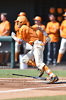 Tennessee Volunteers third baseman Jordan Rodgers (7) runs to first during a game against the South Carolina Gamecocks at Lindsey Nelson Stadium on March 18, 2017 in Knoxville, Tennessee. The Gamecocks defeated Volunteers 6-5. (Tony Farlow/Four Seam Images)