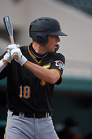 Pittsburgh Pirates Will Matthiessen (18) on deck during a Florida Instructional League game against the Detroit Tigers on October 16, 2020 at Joker Marchant Stadium in Lakeland, Florida.  (Mike Janes/Four Seam Images)