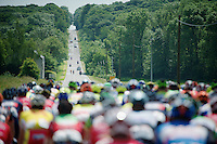 the peloton (led by OmegaPharma-Quickstep) decides to let 3 riders go in the break before locking down the bunch<br /> <br /> 2014 Belgium Tour<br /> stage 4: Lacs de l'Eau d'Heure - Lacs de l'Eau d'Heure (178km)