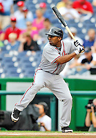 24 September 2011: Atlanta Braves outfielder Michael Bourn in action against the Washington Nationals at Nationals Park in Washington, DC. The Nationals defeated the Braves 4-1 to even up their 3-game series. Mandatory Credit: Ed Wolfstein Photo
