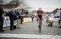 victim of a late crash Matteo Moschetti (ITA/Trek - Segafredo), finishing after all<br /> <br /> 74th Nokere Koerse 2019 <br /> One day race from Deinze to Nokere / BEL (196km)<br /> <br /> ©kramon