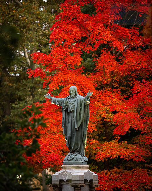 October 11, 2020; Jesus statue on Main Quad (Photo by Matt Cashore/University of Notre Dame)