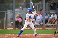 Pitt Panthers Sky Duff (3) bats during the teams opening game of the season against the Indiana State Sycamores on February 19, 2021 at North Charlotte Regional Park in Port Charlotte, Florida.  (Mike Janes/Four Seam Images)