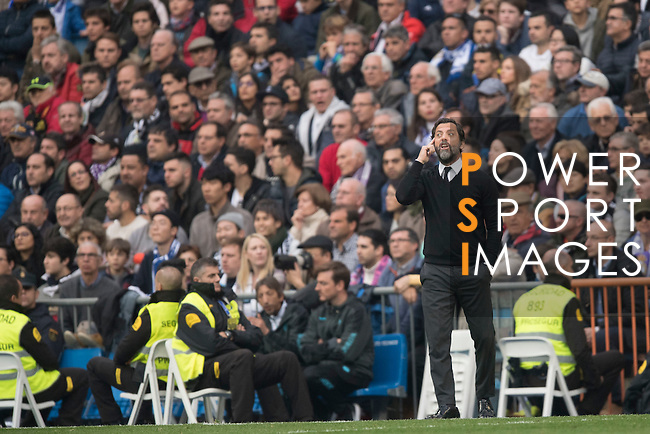 Coach Enrique Sanchez Flores of RCD Espanyol  during the matchn Real Madrid vs RCD Espanyol, a La Liga match at the Santiago Bernabeu Stadium on 18 February 2017 in Madrid, Spain. Photo by Diego Gonzalez Souto / Power Sport Images
