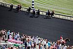 August 10, 2019 : Fans watch an undercard race during Arlington Million Day at Arlington International Racecourse in Arlington Heights, Illinois. Jon Durr/Eclipse Sportswire/CSM