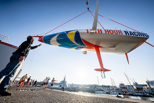 11th Hour Racing Team's new boat is hoisted at the boatyard of MerConcept in Concarneau | Credit: Amory Ross