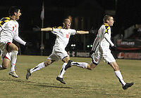 Billy Cortes #7 and Alex Lee #18 follow Taylor Kemp #2 after he had scored the winning goal for the University of Maryland during an NCAA 3rd. round match against Penn State at Ludwig Field, University of Maryland, College Park, Maryland on November 28 2010.Maryland won 1-0.